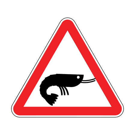 Attention shrimp. Dangers of red road sign. plankton Caution Illustration