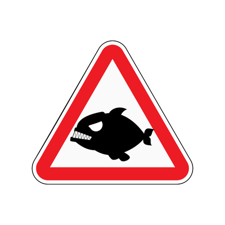 Attention piranha. Dangers of red road sign. Predatory fish Caution