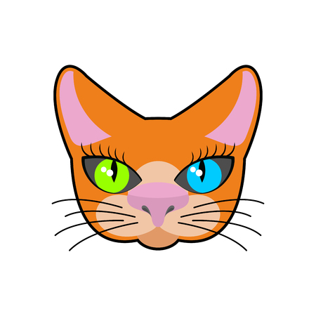 friend nobody: Red-headed cat face isolated. Pet on green background