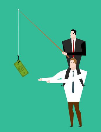 Business motivation. Boss sitting on shoulders of manager. Dollar on fishing rod. Businessman motivates