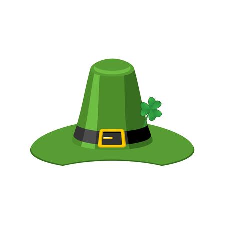 Leprechaun Green hat isolated. St. Patrick's Day national holiday. Hat Magic Dwarf in Ireland.Traditional Irish Festival