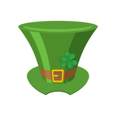 Leprechaun Green hat isolated. St. Patricks Day national holiday. Hat Magic Dwarf in Ireland.Traditional Irish Festival