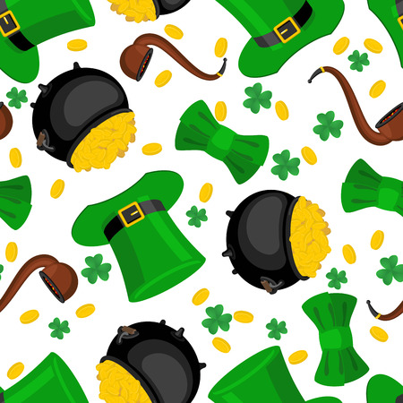 St. Patricks Day seamless pattern. Leprechaun hat and gold. bow tie and shamrock. Golden coin and pipes. National background Holiday in Ireland. Traditional Irish Festival Illustration