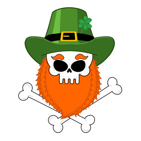 clover face: Skull leprechaun with red beard. Green Irish cap. St. Patricks Day national holiday. Traditional Ireland Festival