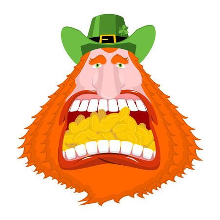 Leprechaun gold. Crazy Dwarf for St. Patricks Day. Golden coins in mouth. National Holiday in Ireland. Traditional Irish Festival