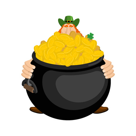 St.Patricks Day. Leprechaun and pot of gold. Magic dwarf and boiler of golden coins. National Holiday in Ireland. Traditional Irish Festival Illustration