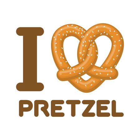I Love pretzel. snack heart. Food lover sign. Traditional German meal 일러스트