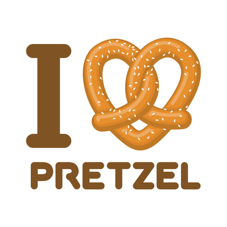 I Love pretzel. snack heart. Food lover sign. Traditional German meal Vectores