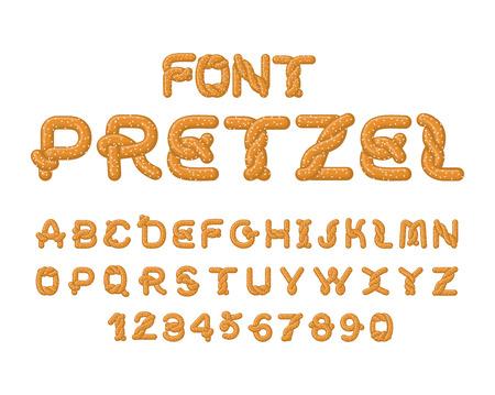 basic letters: Pretzel font. Food alphabet. Traditional German meal is ABC. Bake snack Illustration