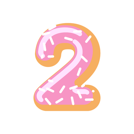 Number 2 donut. Doughnut font two. Sweet alphabet. candy lettering. food ABC sign Illustration