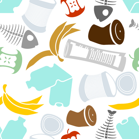 Rubbish seamless pattern. Garbage texture. trash ornament. litter background. peel from banana and stub. Tin and old newspaper. Bone and packaging. Crumpled paper and plastic bottle Illustration