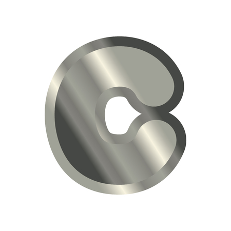 Letter C steel font. Metal alphabet sign. Iron ABC symbol. chromium lettering. Silver typography