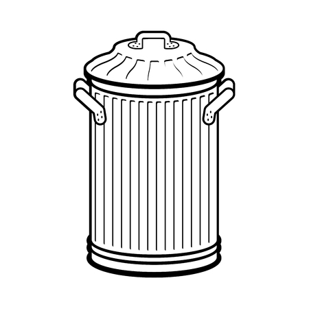 Trash can isolated. Wheelie bin on white background. Dumpster iron. Illustration
