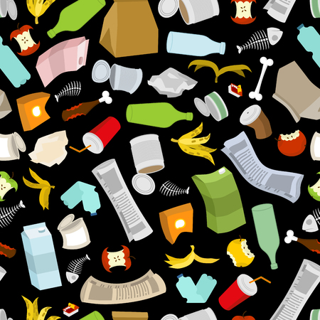 Rubbish seamless pattern. Garbage texture. trash ornament. dirty background. peel from banana and stub. Tin and old newspaper. Bone and packaging. Crumpled paper and plastic bottle Illustration