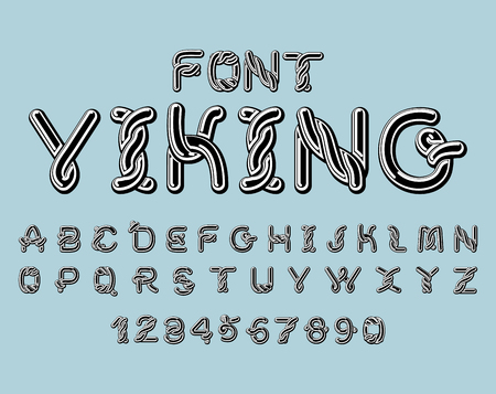 germanic people: Viking font. norse medieval ornament Celtic ABC. Traditional ancient manuscripts alphabet