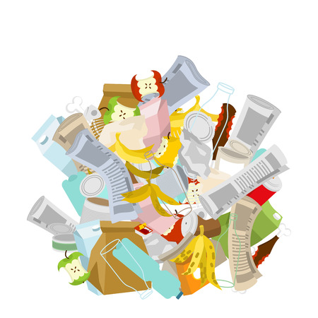 heap trash isolated. Pile Rubbish. Garbage Stack. litter background. peel from banana and stub. Tin and old newspaper. Bone and packaging. Crumpled paper and plastic bottle