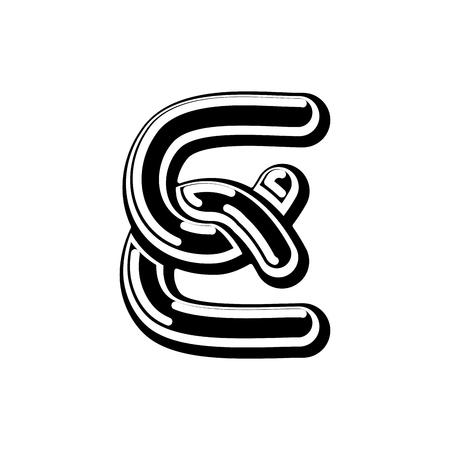Letter E Celtic font. norse medieval ornament ABC. Traditional ancient manuscripts alphabet