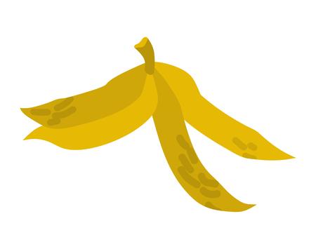 skin injury: Peel banana isolated trash. Garbage white background