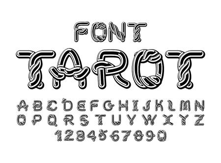 initial cap: Tarot font. Traditional ancient manuscripts Celtic alphabet. norse medieval ornament ABC.