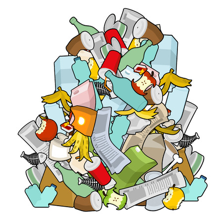 Pile Rubbish. Garbage heap  isolated. Stack trash. litter background. peel from banana and stub. Tin and old newspaper. Bone and packaging. Crumpled paper and plastic bottle