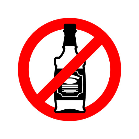 bourbon: Stop alcohol. Bottle of whiskey on  red circle. Road sign Ban alcoholic Illustration