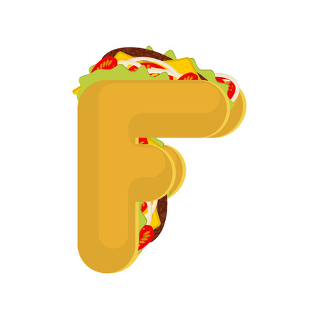 Letter F tacos. Mexican fast food font. Taco alphabet symbol. Mexico meal ABC