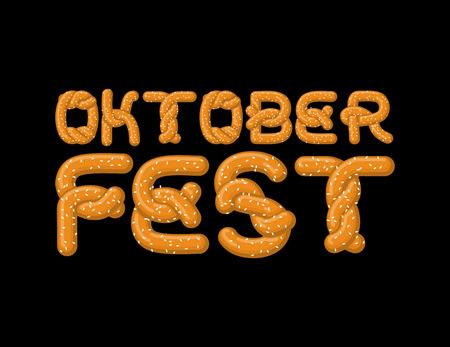 basic letters: Oktoberfest lettering. Pretzel font. Bake snack alphabet. Traditional German meal is ABC