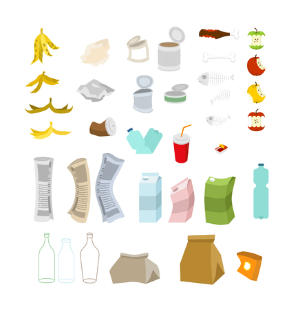 Garbage set. Rubbish icon collection. trash sign. litter symbol. peel from banana and stub. Tin and old newspaper. Bone and packaging. Crumpled paper and plastic bottle Çizim