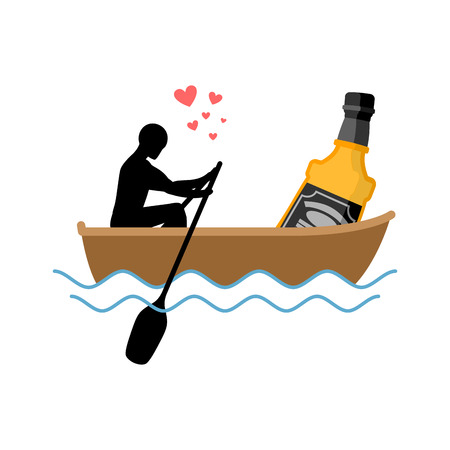 Lover alcohol drink. Man and bottle of whiskey boat ride. Lovers float. Romantic date. Alcoholic Lifestyle