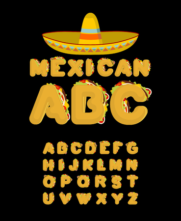 Mexican font. Tacos alphabet. Taco fast food ABC. traditional Mexico meal letter