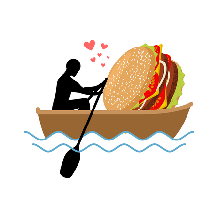 sesame seeds: lover fast food. Man and hamburger ride in boat. Guy and Burger. Lovers of sailing. Romantic date fastfood. Glutton Lifestyle Illustration