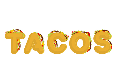 cartoon tomato: Tacos lettering. Mexican fast food font. Taco text. traditional Mexico meal letter
