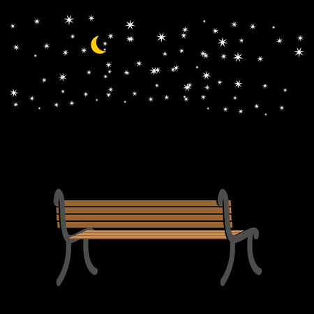 Bench at night. sky and stars. romantic background Illustration