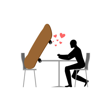Lover skateboarding. Skateboard and guy in cafe. Lovers in restaurant. Romantic date. Love extreme sports Vectores