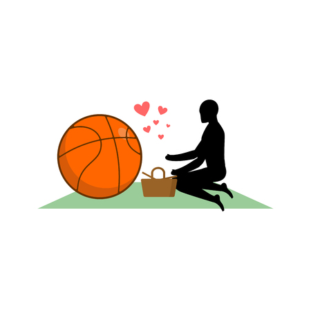 dinner date: Lover Basketball. Guy and ball on picnic. Meal in nature. blanket and basket for food on lawn. Romantic date. Love sport play game