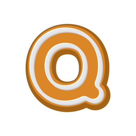 Letter Q Gingerbread. Peppermint honey-cake font. Cookies alphabet. Lettering biscuit Illustration