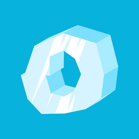letra O fuente de hielo. Alfabeto de los carámbanos. congelar las letras. Iceberg ABC signo