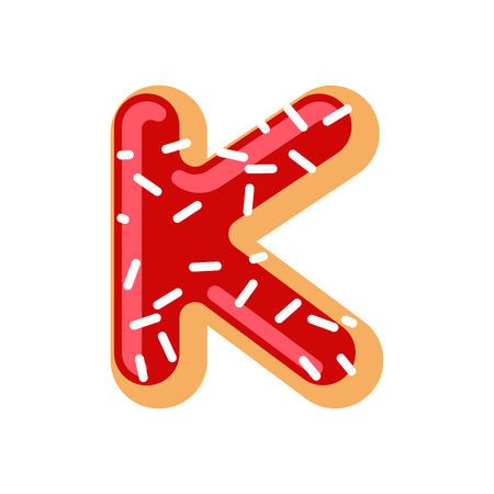 Letter K donut font. Doughnut alphabet. Sweet lettering. candy ABC sign