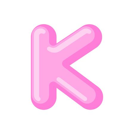Letter K candy font. Caramel alphabet. lollipop lettering. Sweet ABC sign Illustration