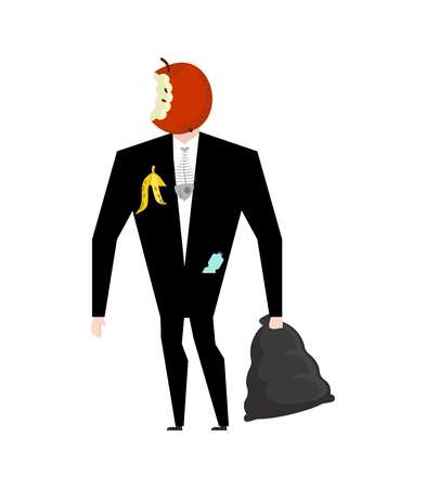 apple core: Mr. trash from garbage bag. Boss apple core. litter management. Businessman rubbish Illustration