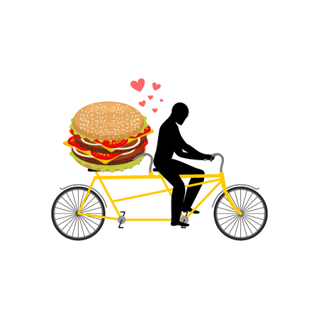 pareja comiendo: amante de comida rápida. Hombre y hamburguesa en tándem. Chico y hamburguesa. Amantes del ciclismo. El hombre rueda la bicicleta. Fecha romántica fastfood. Glutton Estilo de Vida