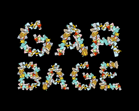 Garbage Lettering. Letters from Rubbish. trash typography. peel from banana and stub. Tin and newspaper. Bone and packaging. Crumpled paper and plastic bottle Illustration