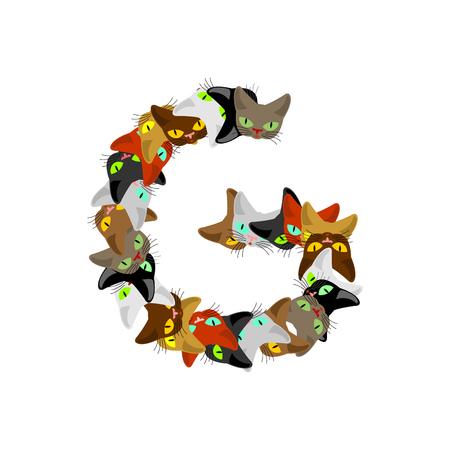 letter G Cat font. Pet alphabet symbol. home animal ABC sign