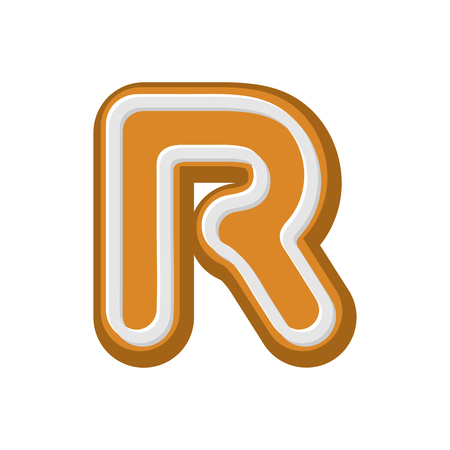 Letter R Gingerbread. Peppermint honey-cake font. Cookies alphabet. Lettering biscuit