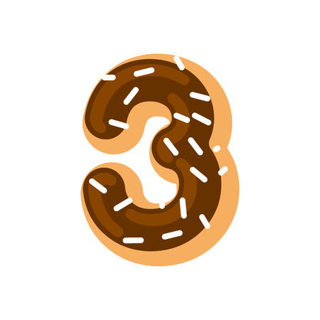 Number 3 donut. Doughnut font three. Sweet alphabet. candy lettering. food ABC sign