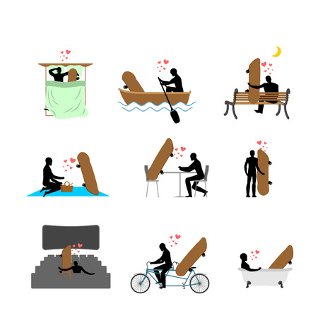Lover skateboarding set. Man and Skateboard in movie theater. Lovers in bath. Romantic rendezvous. boat. person sitting on bench. Joint walk. Cycling tandem. Breakfast in cafe. Picnic in park. sleeping in bed. extreme sport