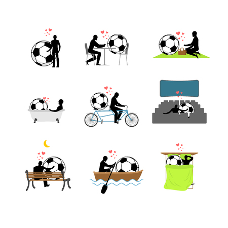 Lover Soccer set. Man and football ball in movie theater. Lovers in bath. Romantic rendezvous. boat. person sitting on bench. Joint walk. Cycling tandem. Breakfast in cafe. Picnic in park. sleeping in bed. love sport game.