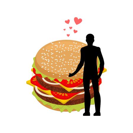 pareja comiendo: amante comida rapida El hombre y la hamburguesa se abrazan. Guy y Burger. Amantes fecha romántica comida rápida. Estilo de vida de gloton