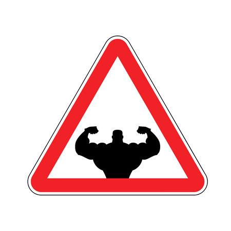 Attention bodybuilding. athlete on red triangle. Road sign Caution fitness