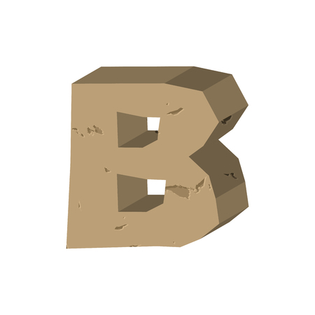 rubble: Letter B stone font. Rock alphabet symbol. Stones crag ABC sign Illustration